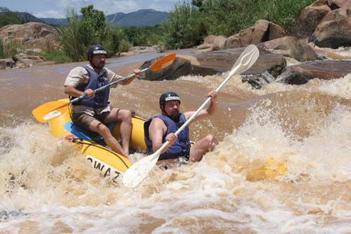 Brother Willie and Louw Visagie paddling on the Great Usutu River