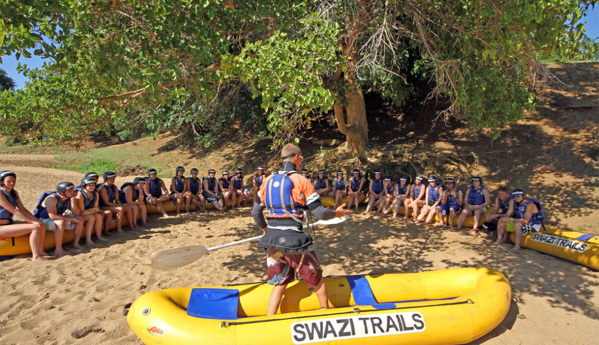 Rafting as an activity for student groups in Swaziland
